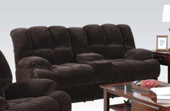 Acme Ahearn Loveseat Console Motion Chocolate Champion