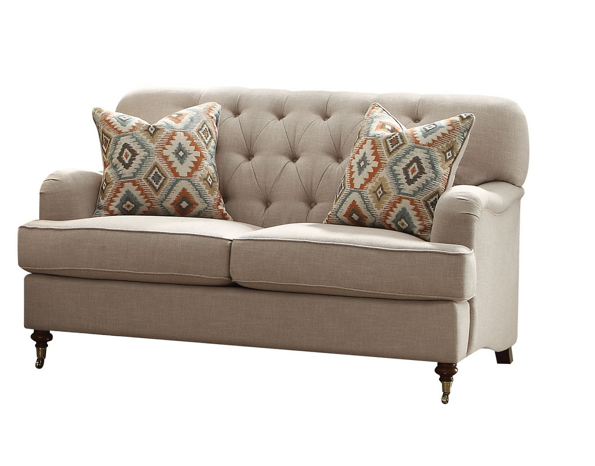 Alianza Loveseat w/ 2 Pillows in Beige Fabric - Acme Furniture 52581