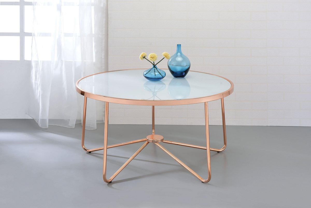 Alivia Coffee Table in Rose Gold & Frosted Glass - Acme Furniture 81835
