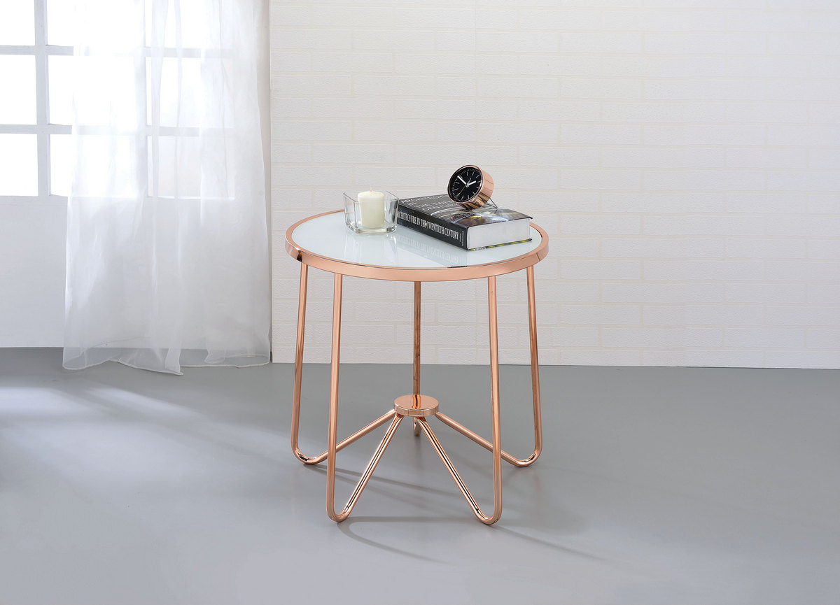 Alivia End Table in Rose Gold & Frosted Glass - Acme Furniture 81837