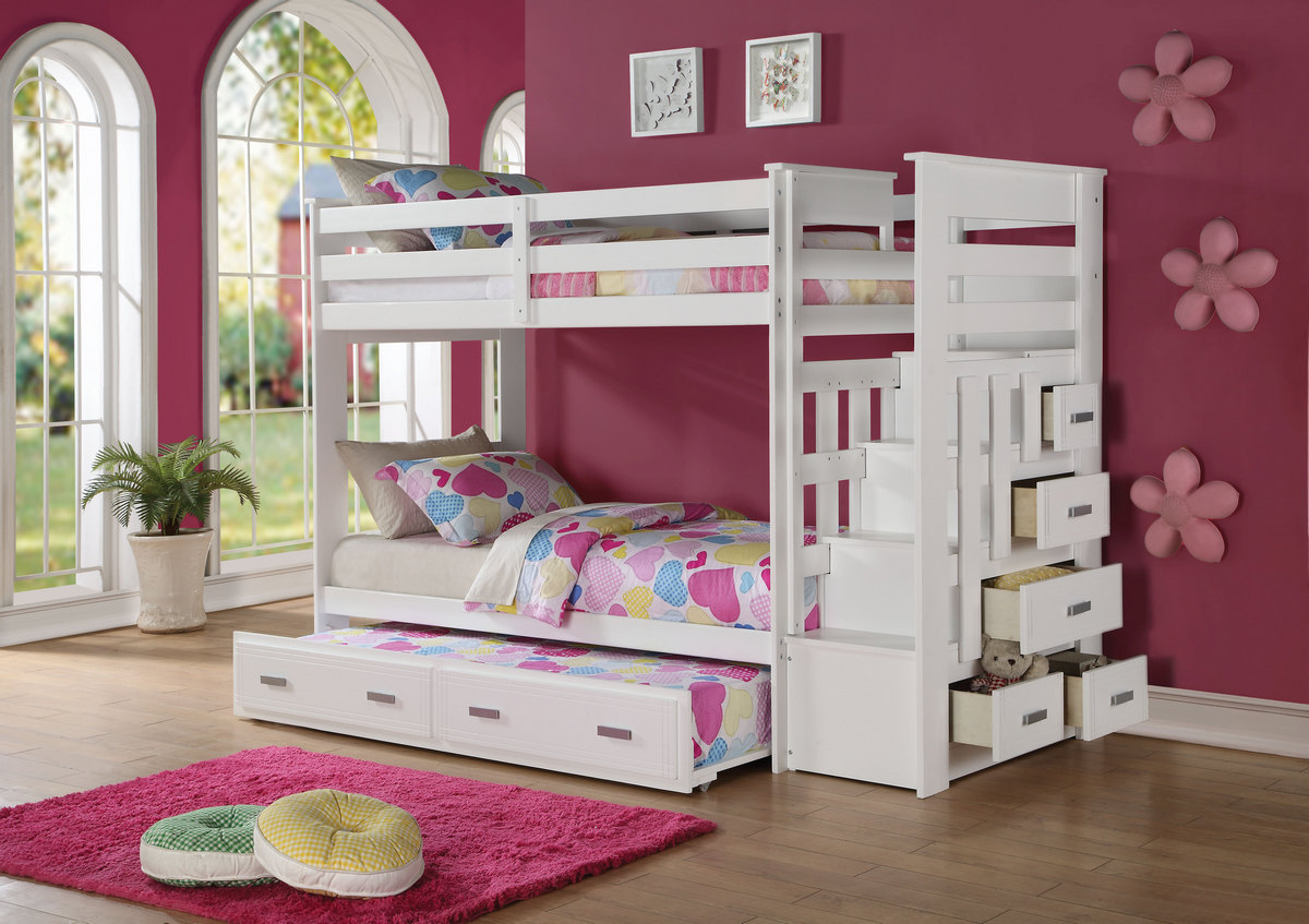 Allentown Twin/Twin Bunk Bed w/ Storage Ladder & Trundle in White - Acme Furniture 37370