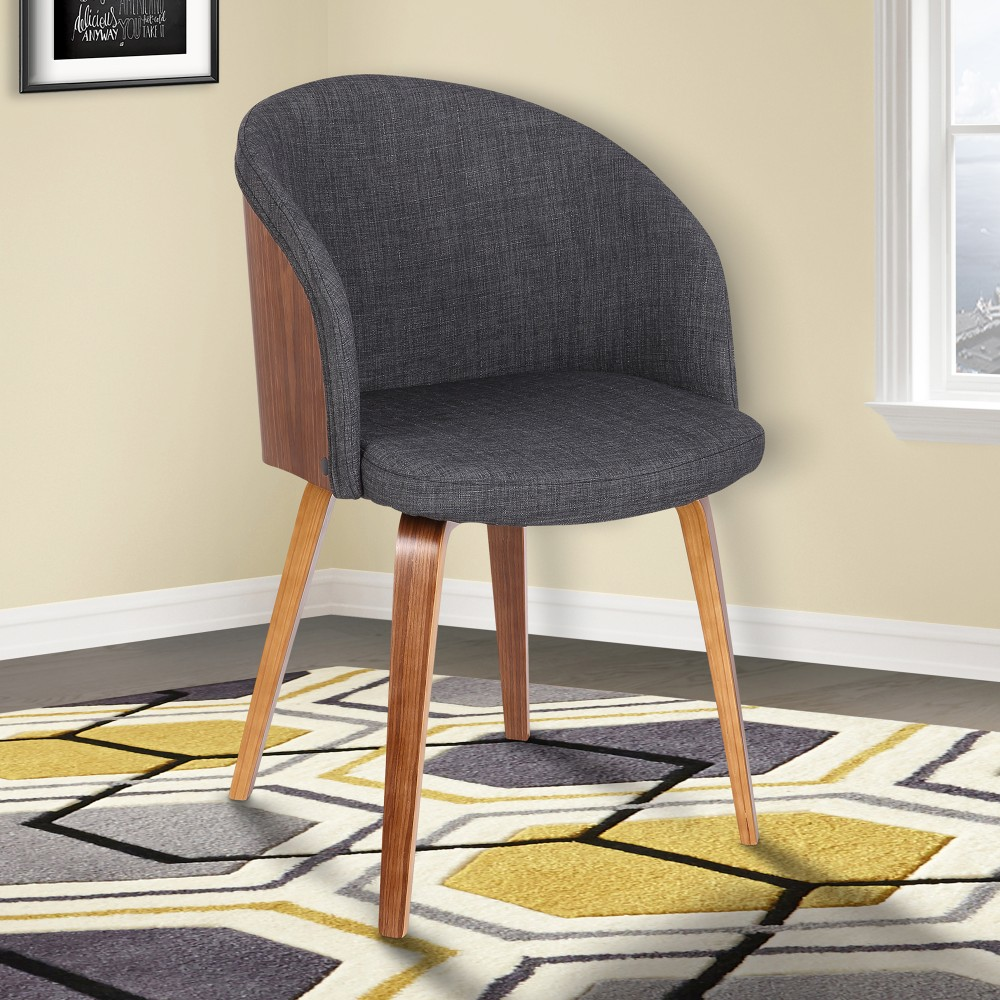 Alpine Mid-Century Dining Chair in Charcoal Fabric w/ Walnut Wood - Armen Living LCALCHWACH