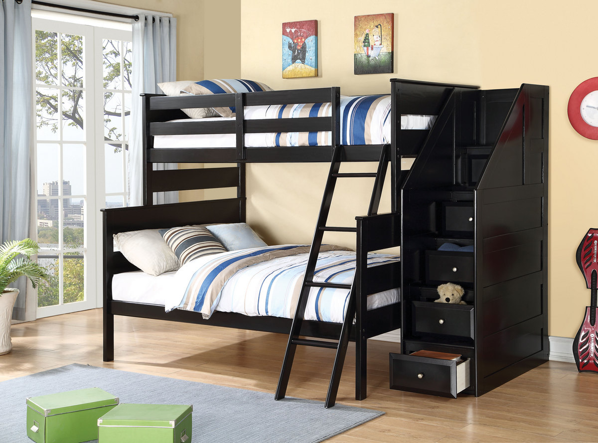 Acme Alvis Twin Full Bunk Bed Storage Ladder Black