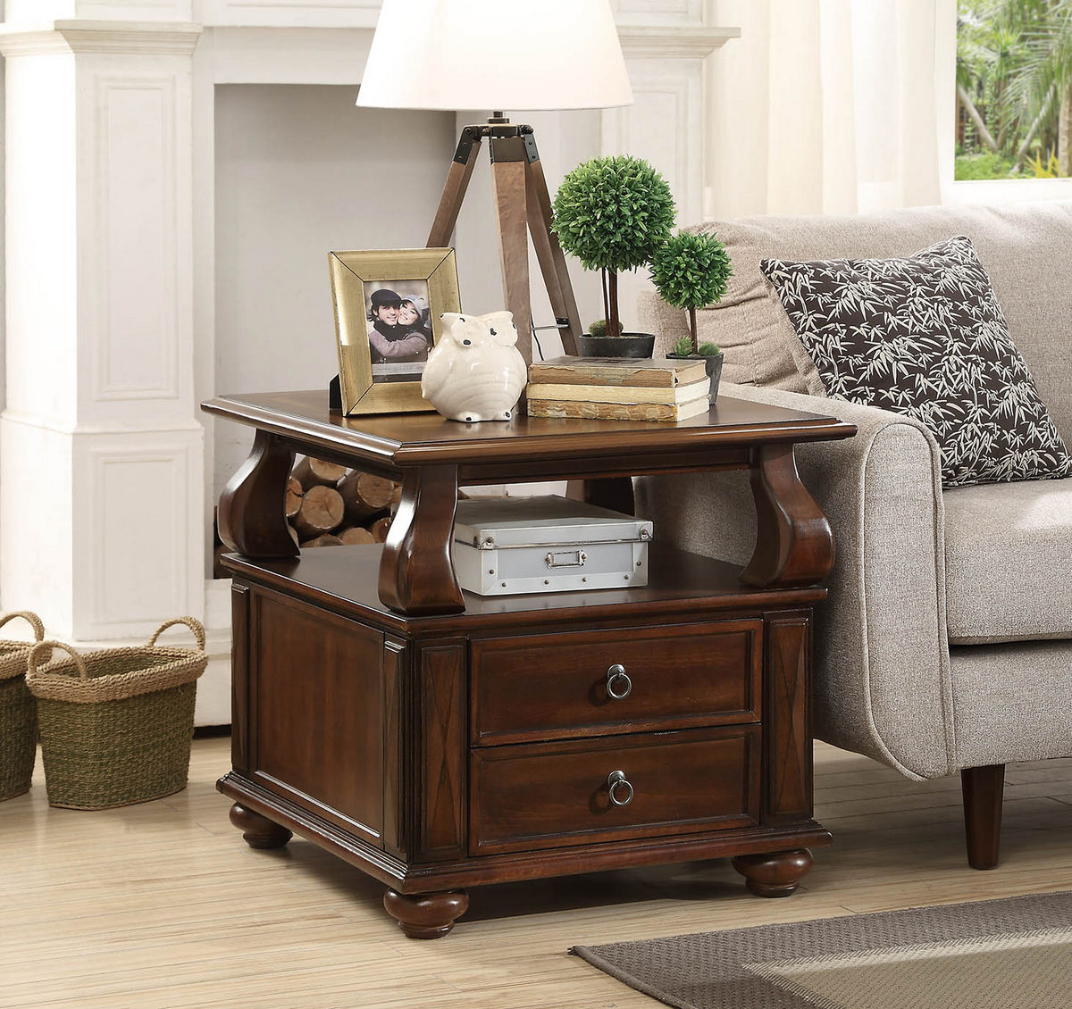 Amado End Table in Walnut - Acme Furniture 80012