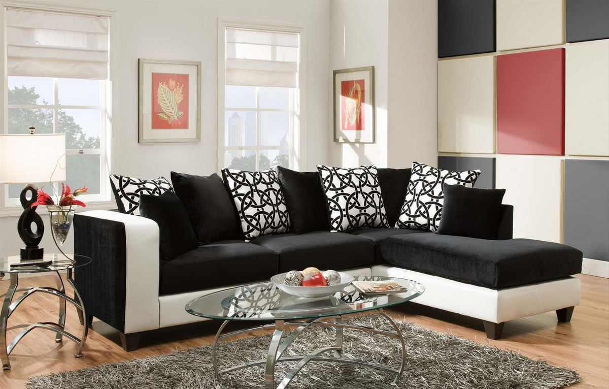 Ame Sectional Implosion Black & Olympia - Chelsea Home Furniture 424124-02-SEC