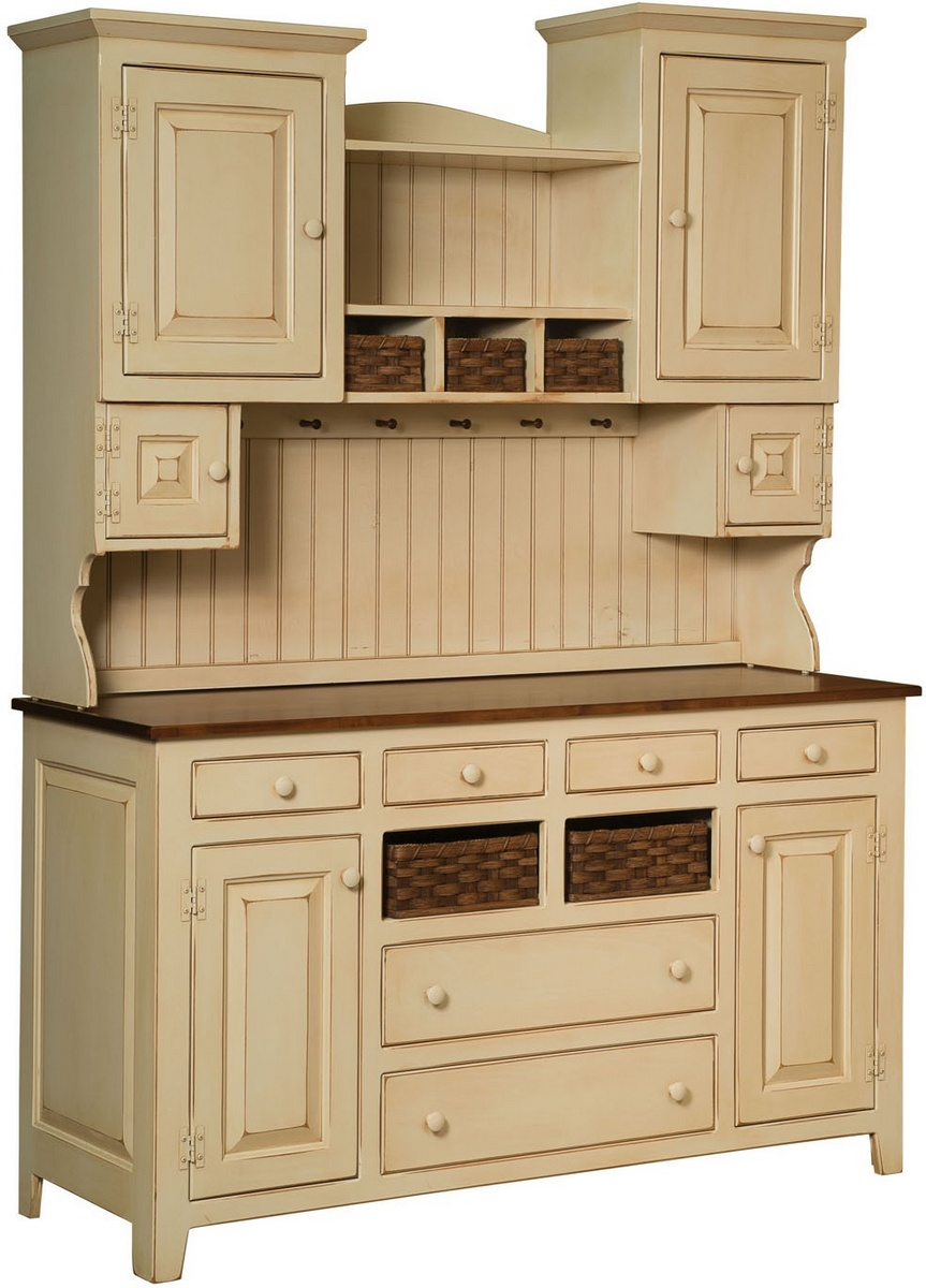 Chelsea Home Amity Two Tone Hutch Baskets Buttermilk Burnt Umber