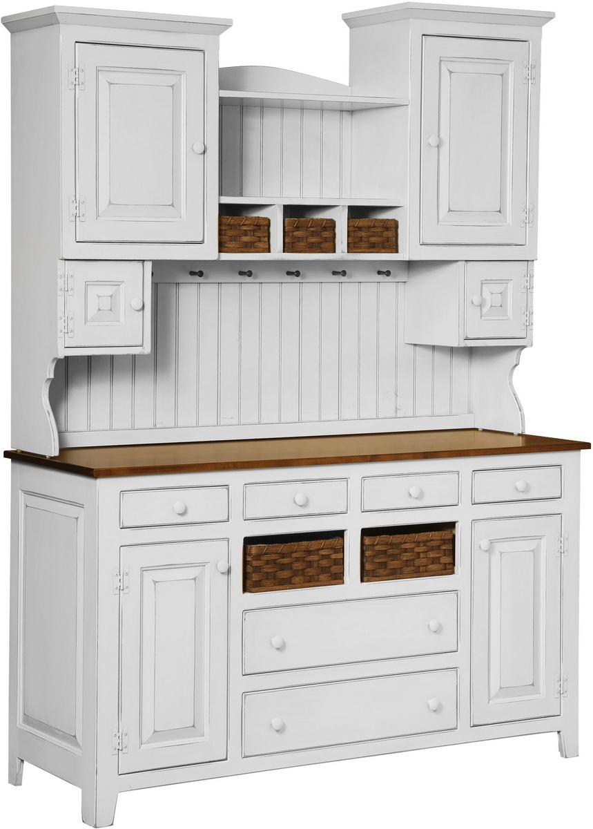 Chelsea Home Amity Two Tone Hutch Baskets Country White Burnt Umber