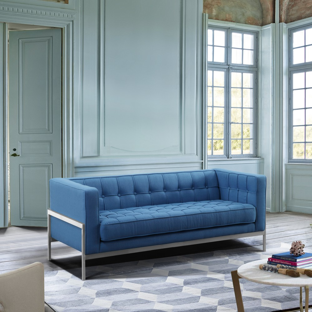 Armen Living Andre Contemporary Loveseat Brushed Stainless Steel Blue Fabric