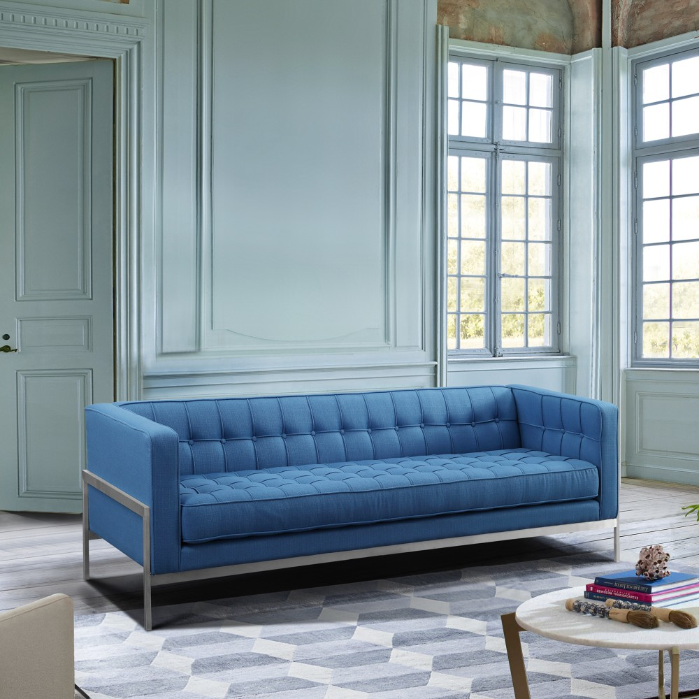 Armen Living Andre Contemporary Sofa Brushed Stainless Steel Blue Fabric
