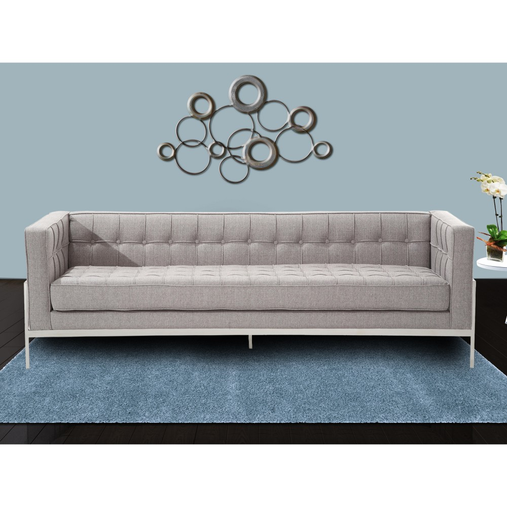 Armen Living Andre Contemporary Sofa Gray Tweed Stainless Steel