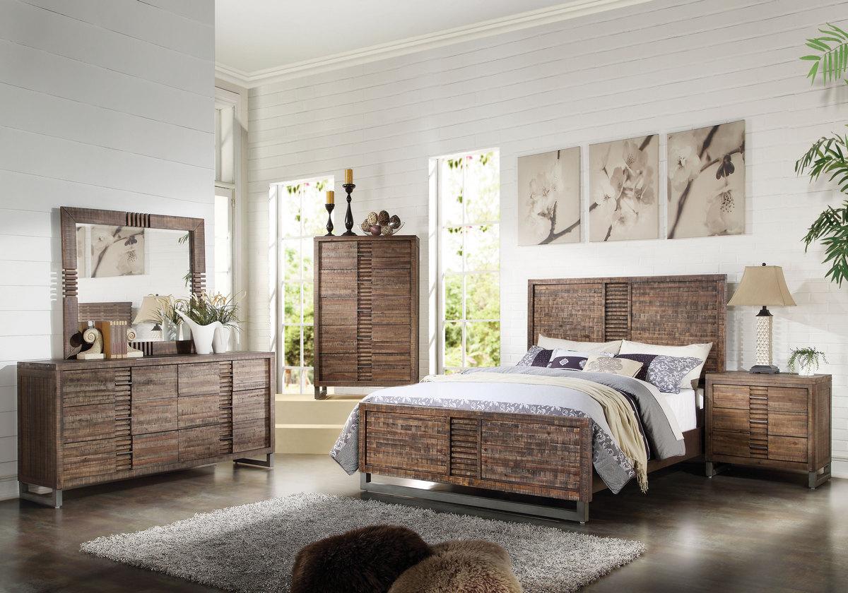 Acme Queen Bed Reclaimed Oak