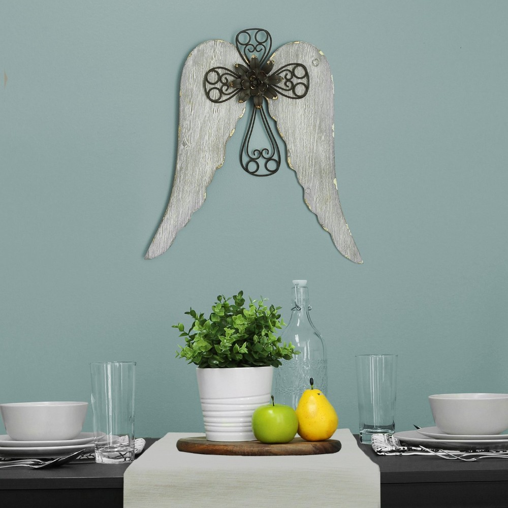 Angel Wings with Cross Wall Decor - Stratton Home Decor S11568