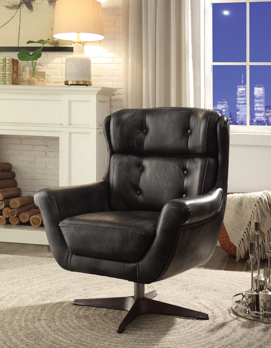 Acme Asotin Accent Chair Vintage Black Grain Leather