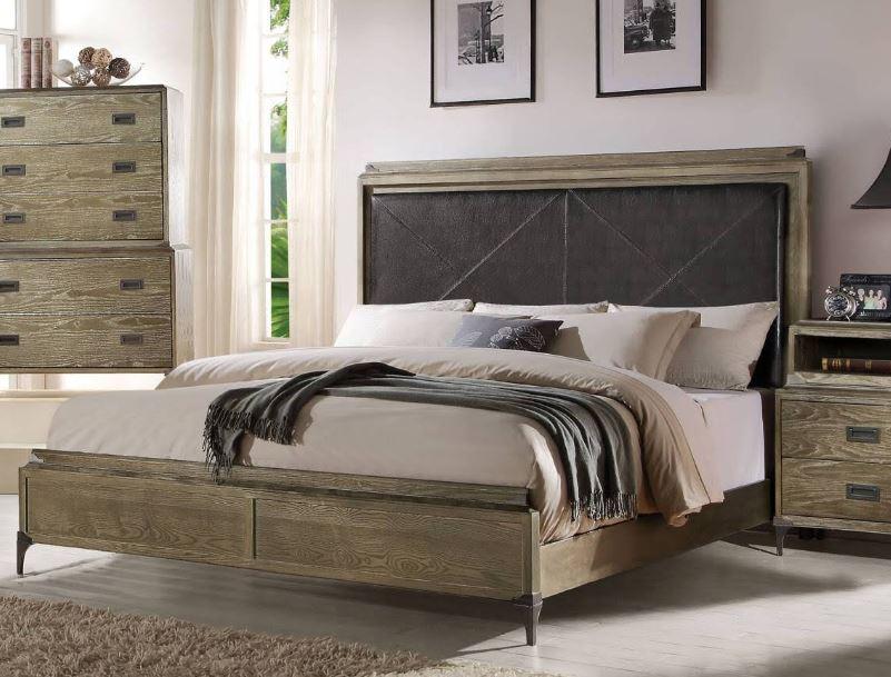 Acme Eastern King Bed Panel Pu Weathered Oak