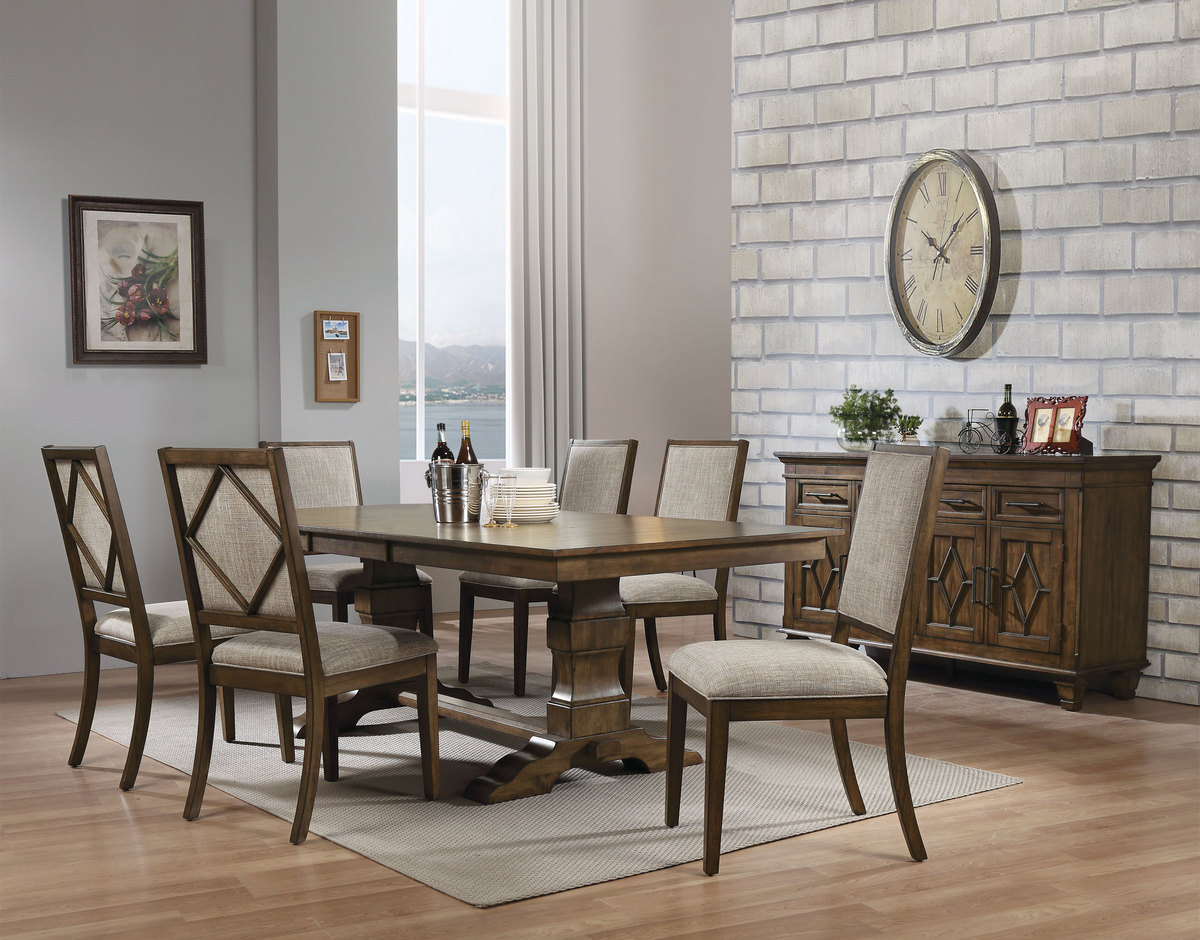 Acme Aurodoti Dining Table Double Pedestal Oak