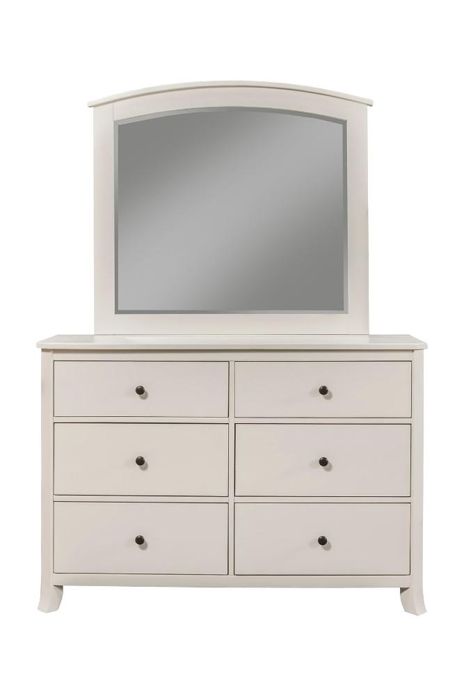 Baker 6 Drawer Dresser in White Finish - Alpine Furniture 977-W-03 Image