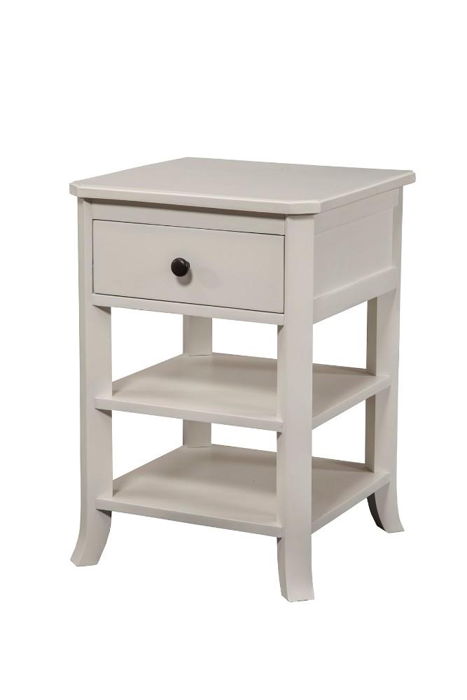 Baker Nightstand w/ Drawer & 2 Open Shelves in White Finish - Alpine Furniture 977-W-02