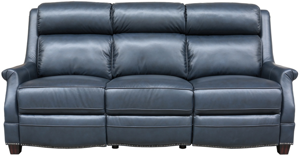 Barcalounger Power Reclining Sofa Power Head Rests Shoreham Blue All Leather