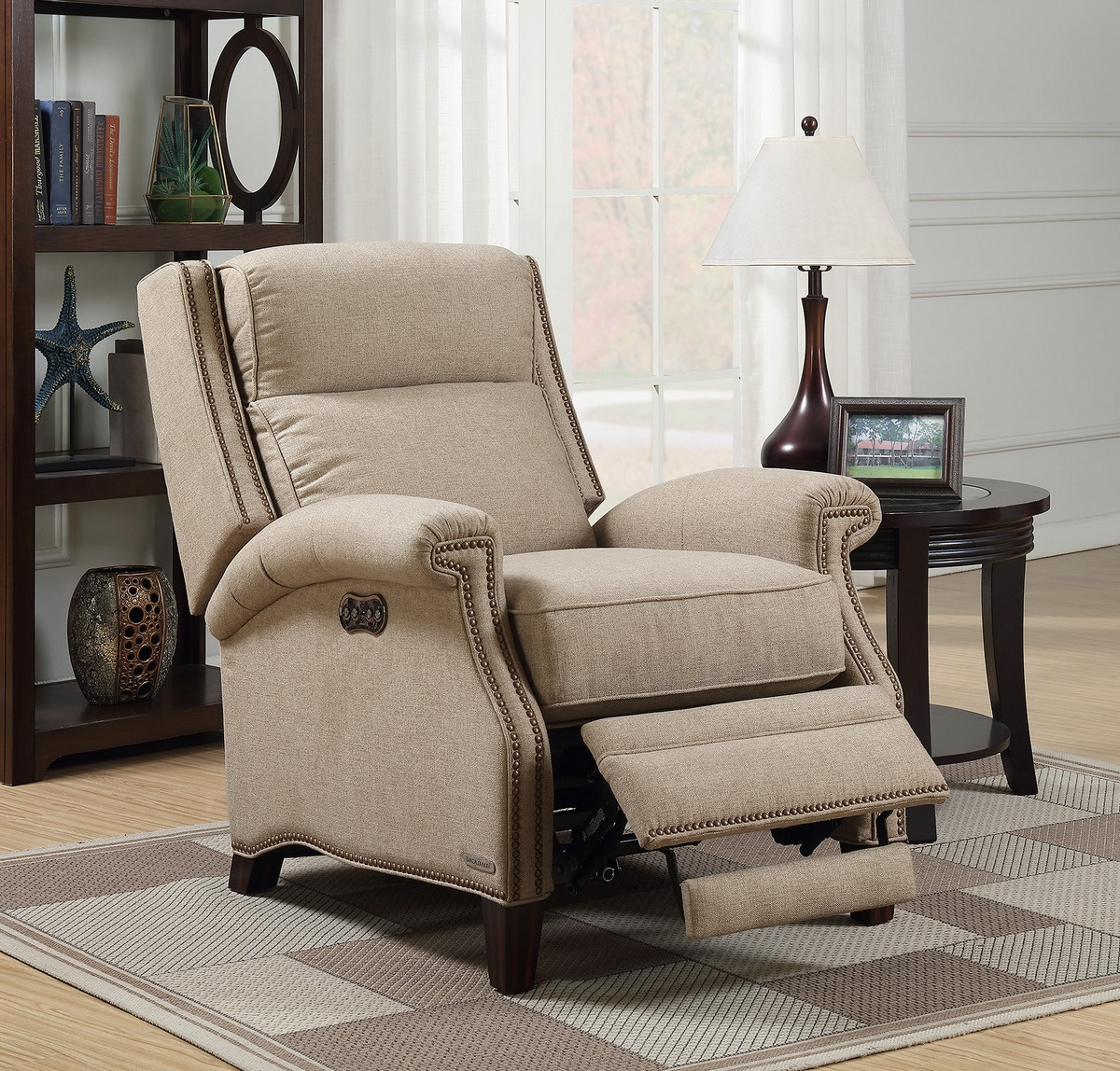 Barcalounger Barrett Power Recliner Power Headrest Sisal Fabric