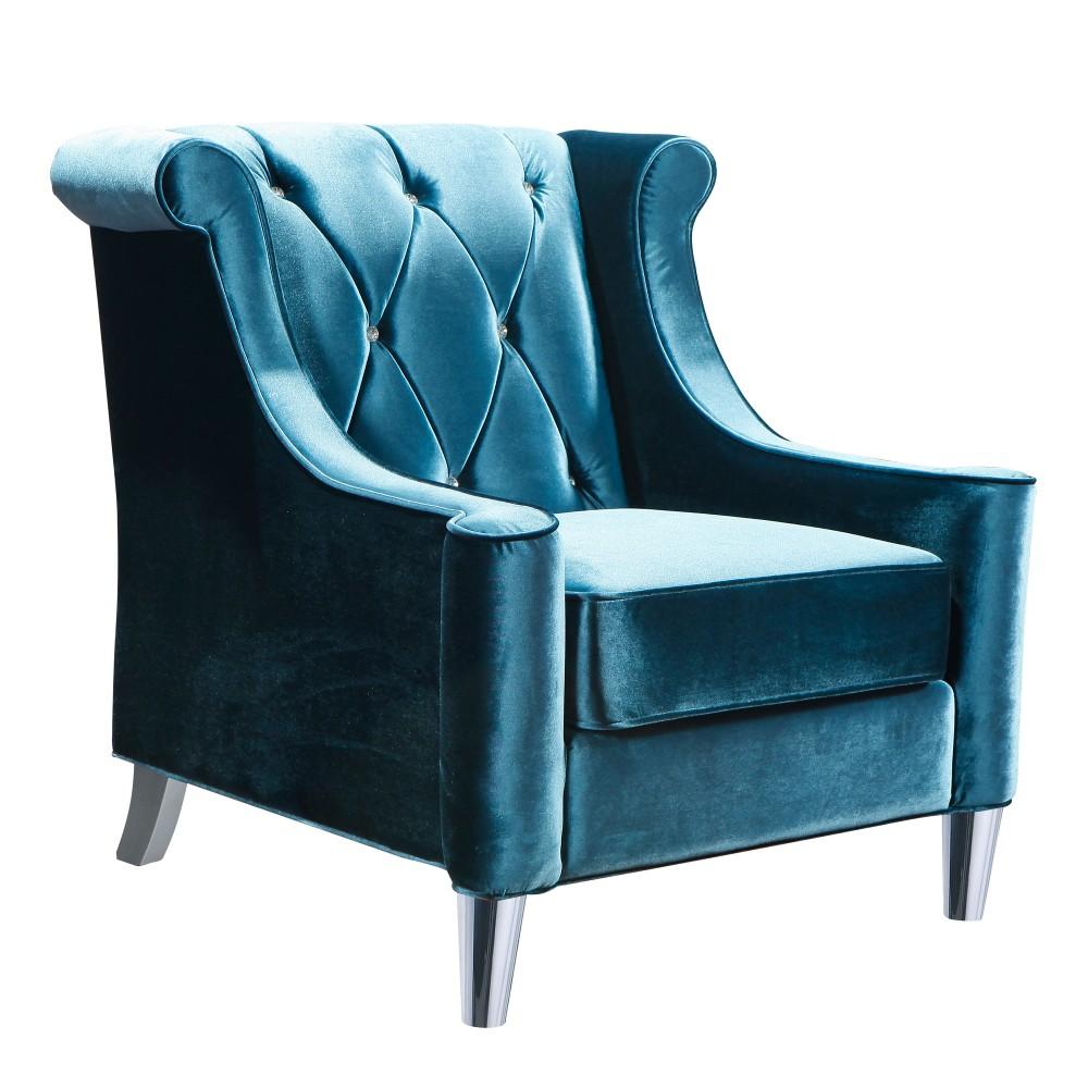Armen Living Chair Blue Velvet Crystal Buttons