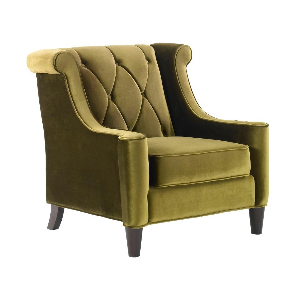 Armen Living Chair Green Velvet Green Piping