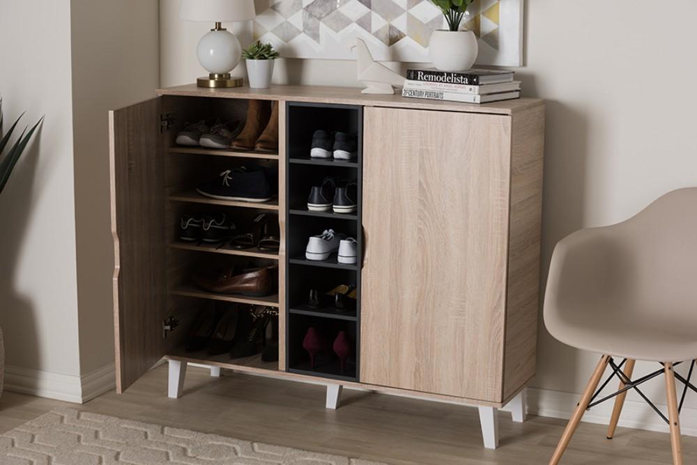 Baxton Studio Adelina Mid-Century Modern 2-door Oak & Grey Wood Shoe Cabinet - SESC16105-Hana Oak/Dark Grey-Shoe Cabinet
