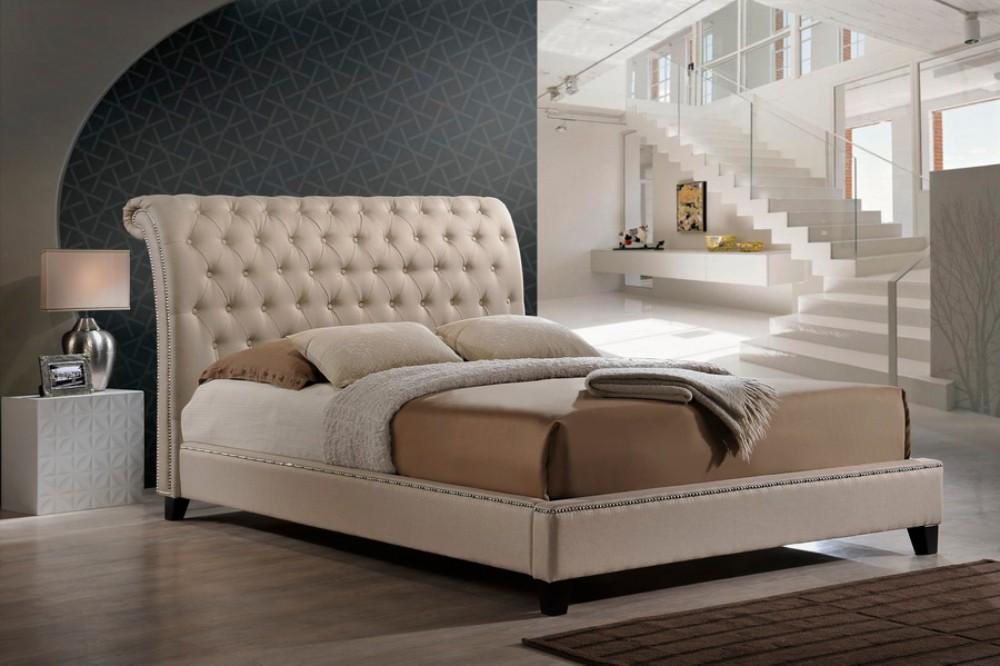 Wholesale Interiors Jazmin Tufted Light Beige Modern Bed Upholstered King Headboard