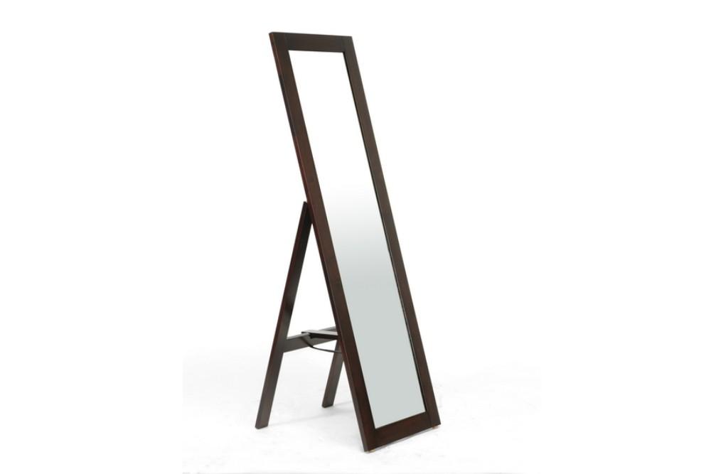 Baxton Studio Lund Dark Brown Wood Modern Mirror With Built In Stand Mirror 0506071