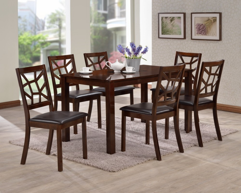 Wholesale Interiors Mozaika Wood Leather Contemporary Dining Set