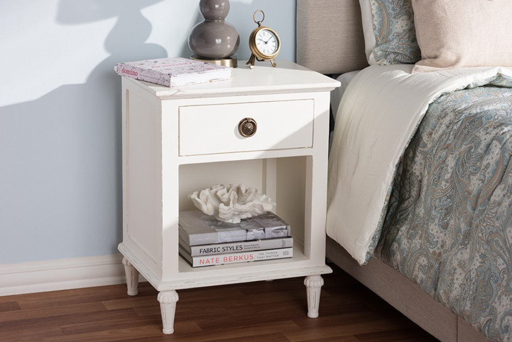 Baxton Studio Venezia French-inspired Rustic Whitewash Wood 1-drawer Nightstand - Sed1mcal2wa