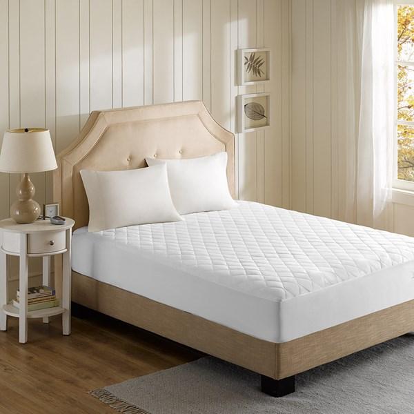 Beautyrest Cotton Blend Twin Heated Mattress Pad in White - Olliix BR55-0198