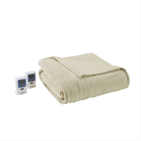 Beautyrest Electric Micro Fleece King Heated Blanket in Green - Olliix BR54-0190