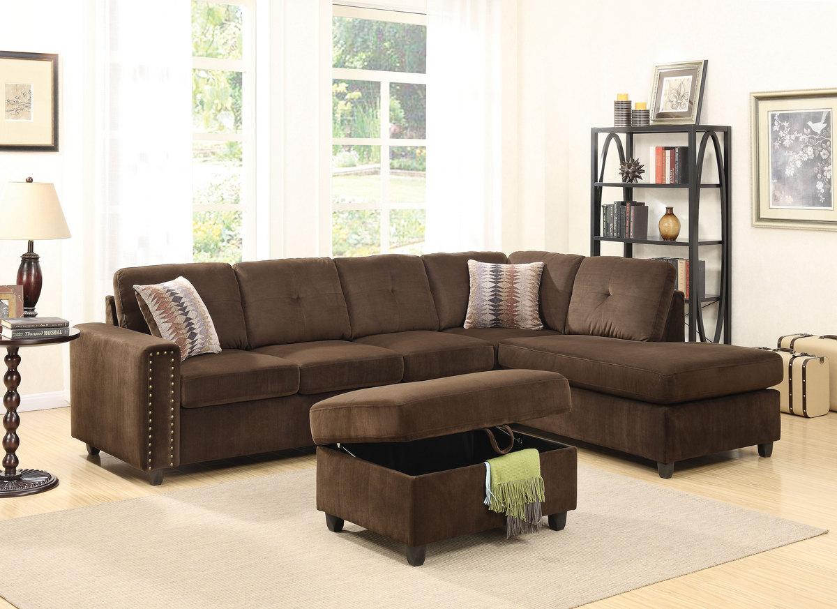 Acme Belville Sectional Sofa Pillows Reversible Chocolate Velvet