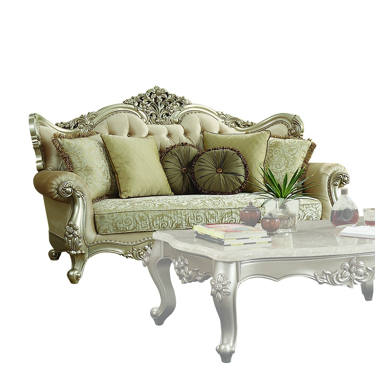 Acme Bently Sofa Pillows Fabric Champagne