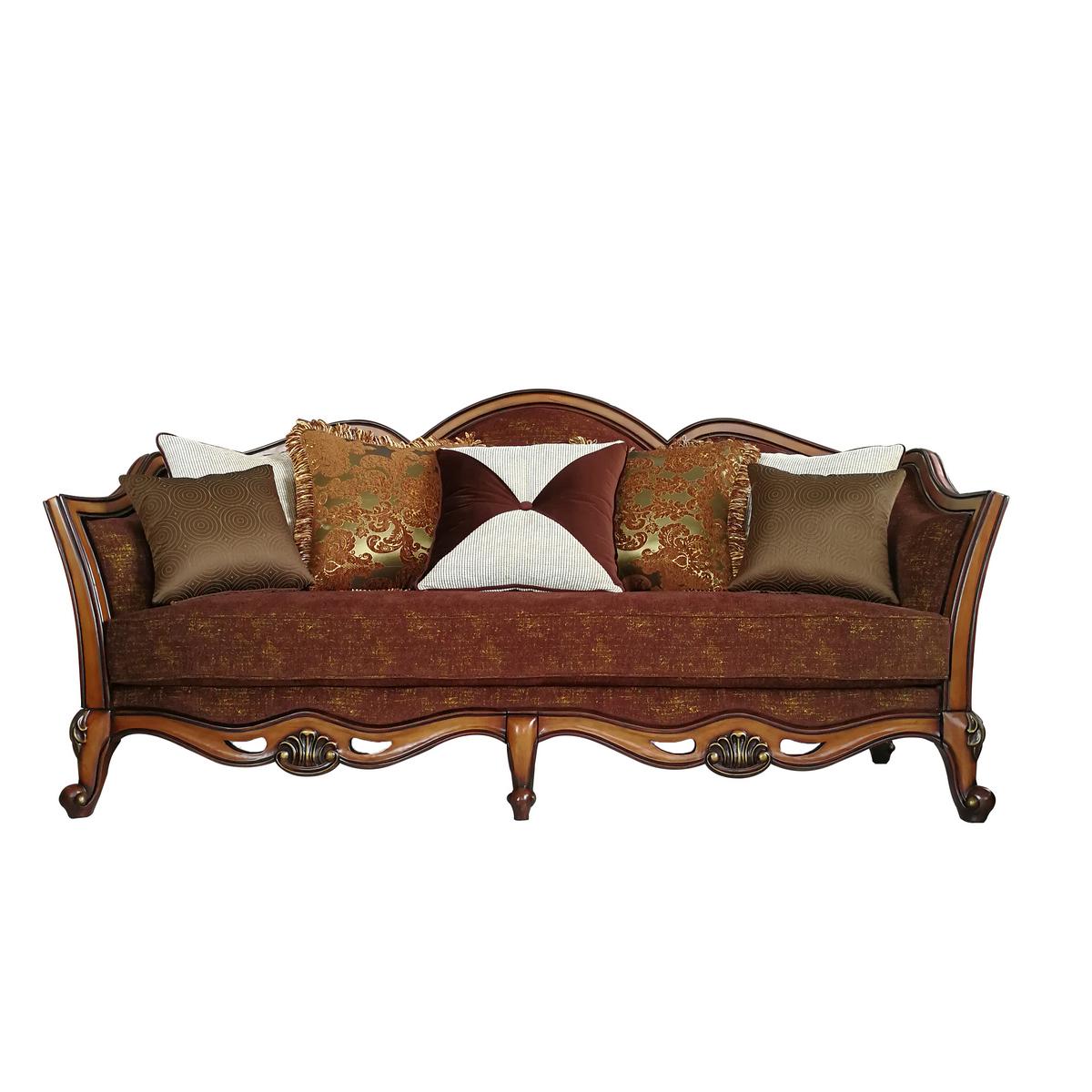 Acme Beredei Sofa Pillows Fabric Antique Oak