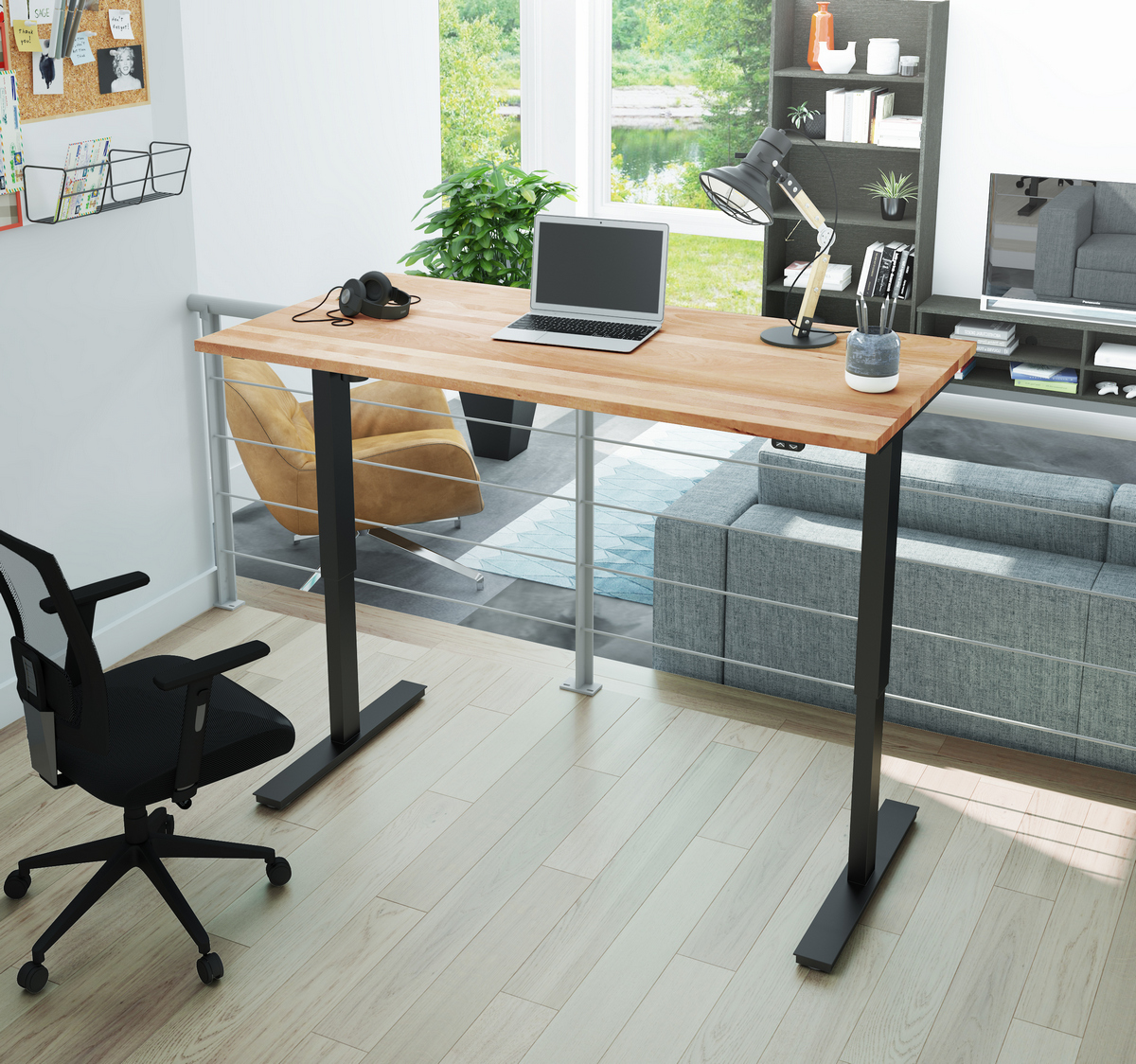 Adjustable   Electric   Height   Solid   Table   Wood