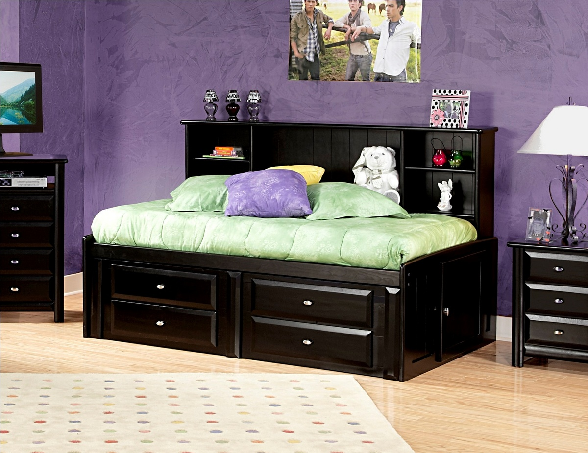 Chelsea Home Black Cherry Twin Bed Bookcase Storage