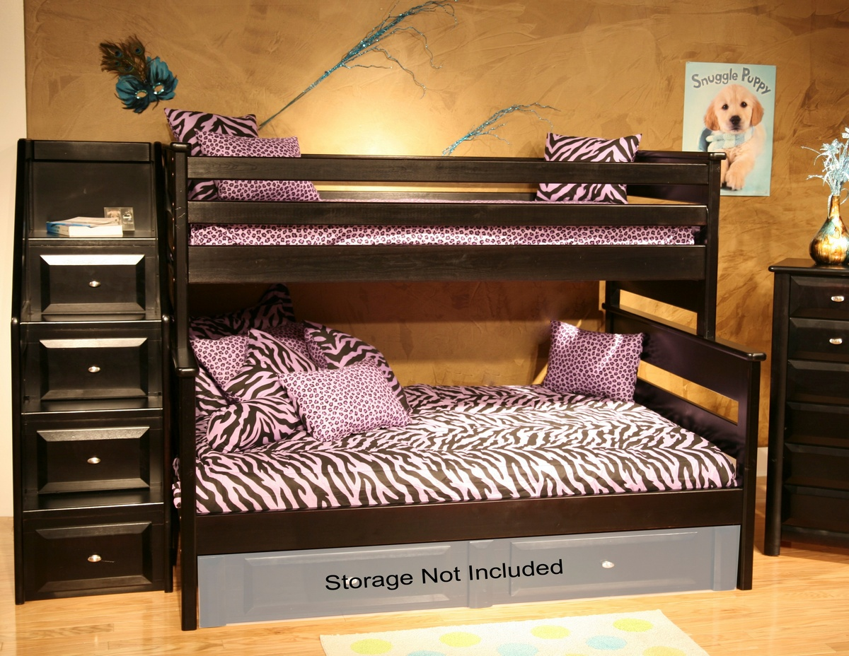 Black Cherry Twin Bunk Bed Stairway Chest