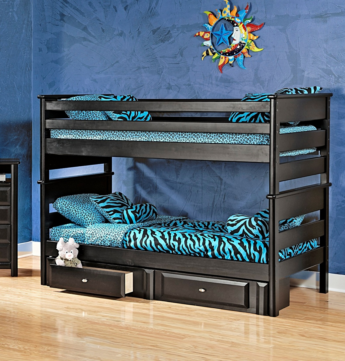 Chelsea Home Black Cherry Twin Over Twin Bunk Bed Storage