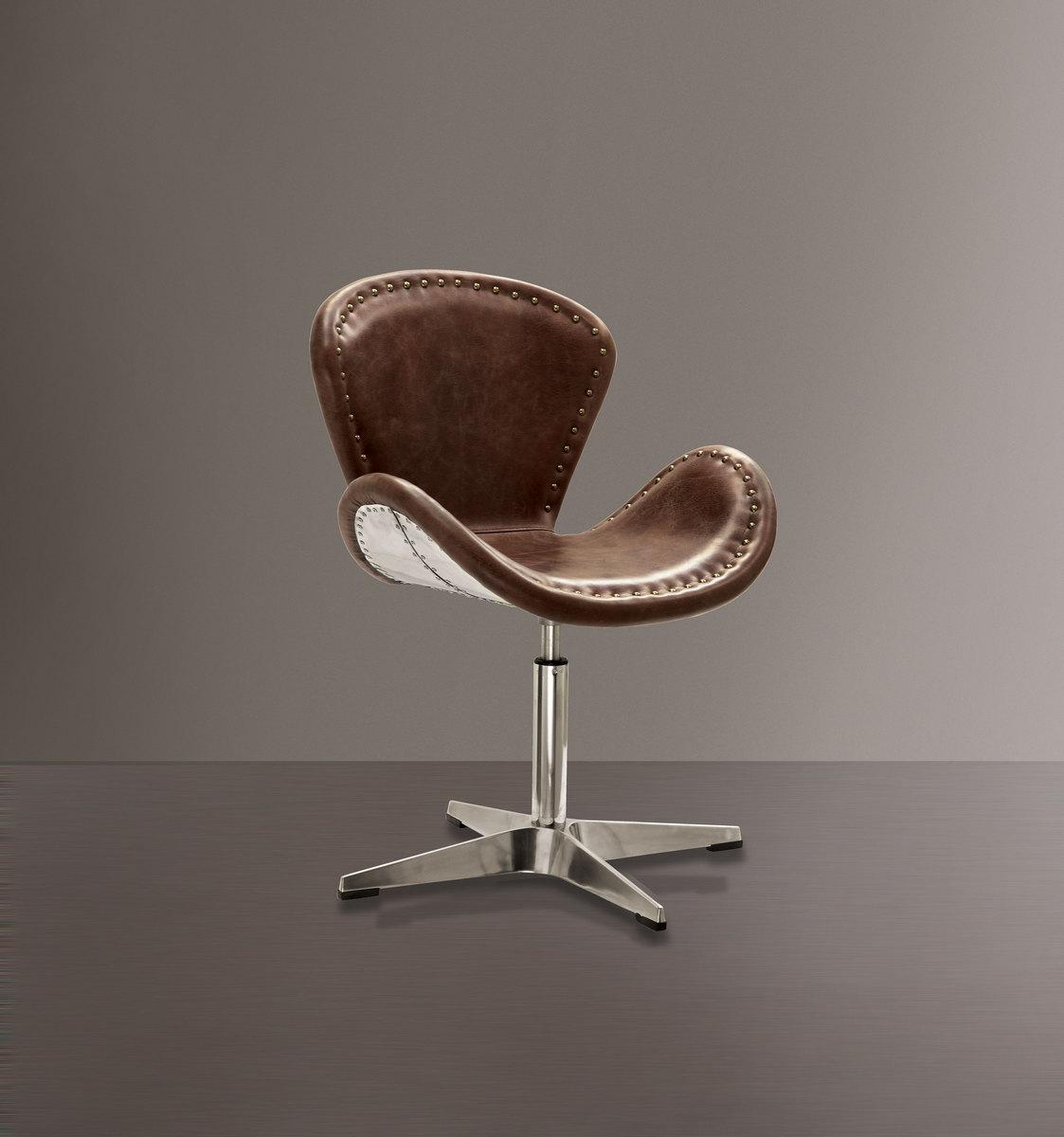 Acme Accent Chair Swivel Retro Brown Top Grain Leather Aluminum