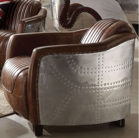 Acme Chair Retro Brown Tg Leather Aluminum