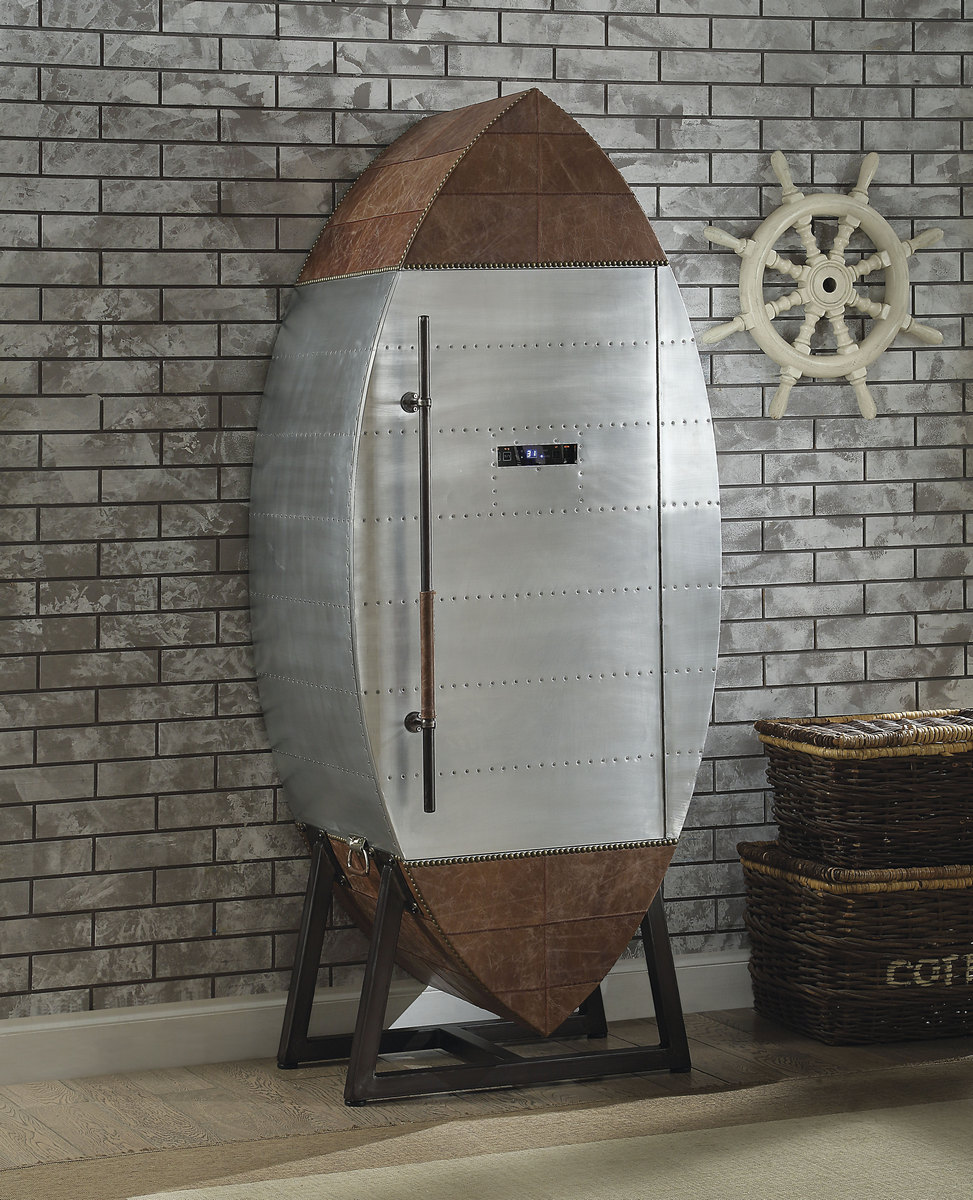 Furniture | Aluminum | Cabinet | Cooler | Retro | Brown | Wine | Cool