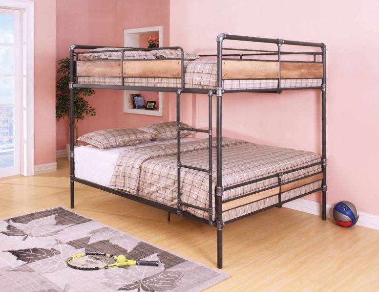 Acme Brantley Queen Queen Bunk Bed Sandy Black Dark Bronze