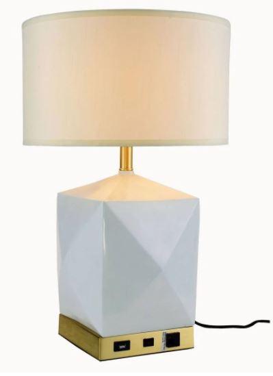 Collection   Elegant   Finish   Brass   Brush   Table   White   Light   Lamp