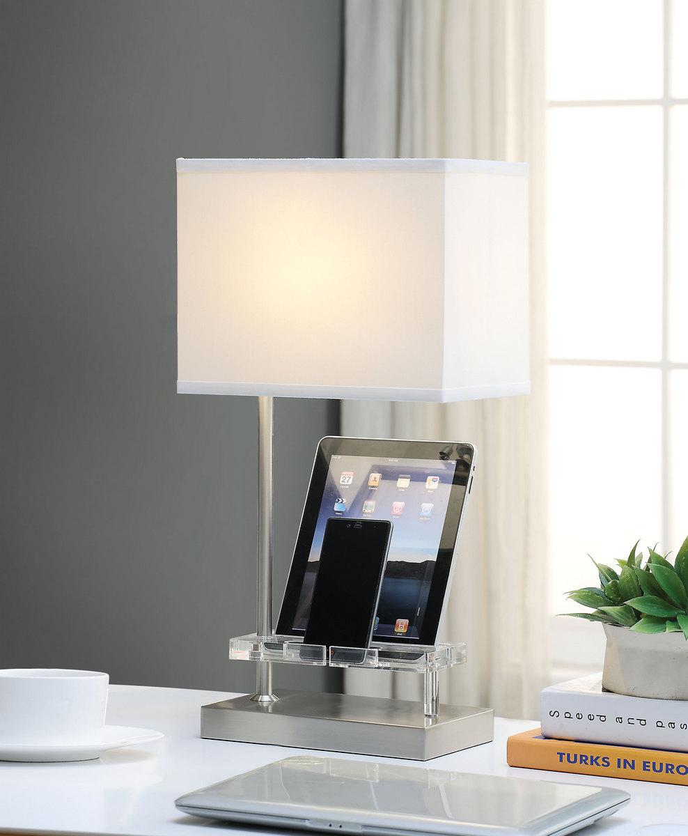 Furniture   Nickel   Power   Table   Lamp