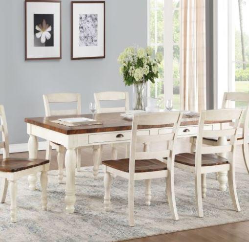 Acme Dining Table Walnut White Washed