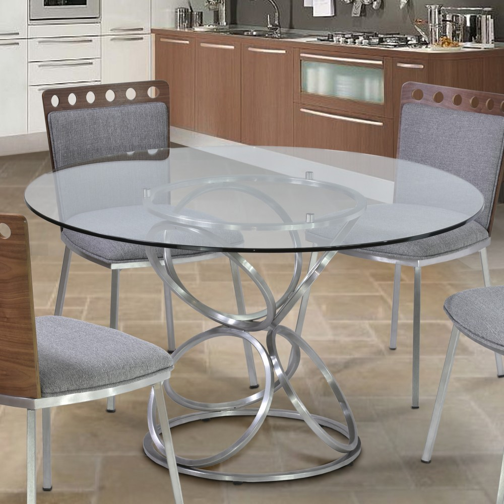 Armen Living Brooke Round Dining Table Brushed Stainless Steel Finish