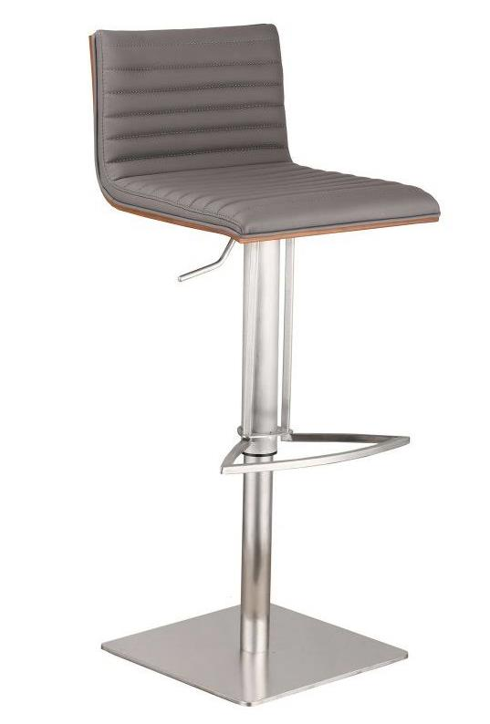 Cafe Adjustable Brushed Stainless Steel Barstool in Gray Faux Leather w/ Walnut Back - Armen Living LCCASWBAGRB201