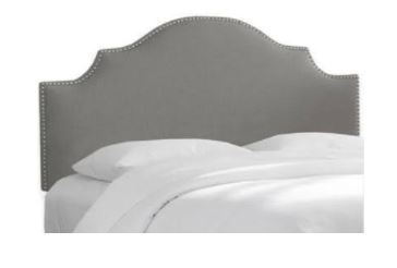 California King Nail Button Notched Headboard in Linen Grey - Skyline 834NB-PWLNNGR