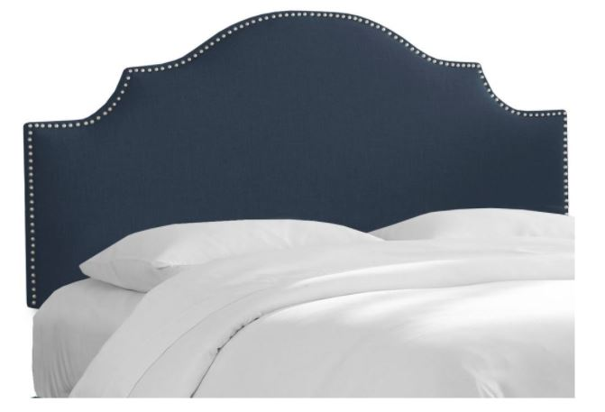 California King Nail Button Notched Headboard in Linen Navy - Skyline 834NB-PWLNNNV